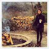 Lily Aldridge stayed warm by the fire at Blackberry Farm in Tennessee. Source: Instagram user lilyaldridge