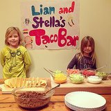 Liam and Stella McDermott set up their own taco bar for their first dinner in the New Year. Source: Instagram user torianddean