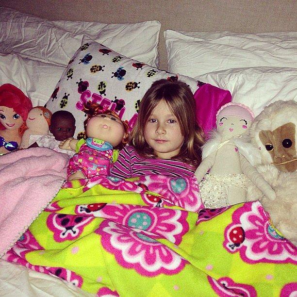 Stella McDermott had a bed full of friends one night. Source: Instagram user torianddean