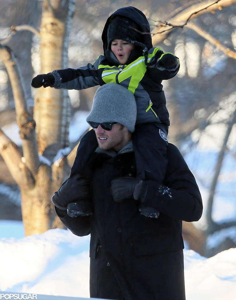 Tom carried little Benjamin on his shoulders.