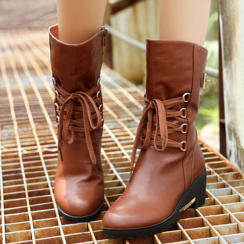 Image of [grzxy61900214]Lace Up Zipper Wedge Lined Shoes Warm Mid Calf Martin Boots
