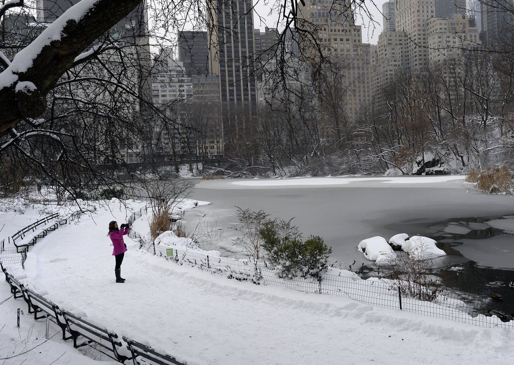A woman walked through NYC's snow-covered Central Park the morning after the first major snowfall from the Winter storm.