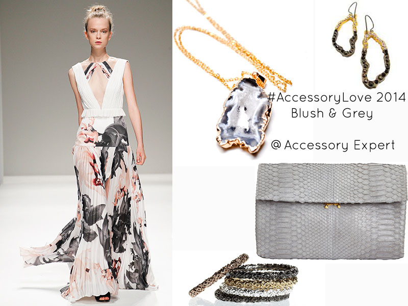 Accessory Love Blush Grey Bibhu Mohapatra Spring 2014 Printed Dress Geode Slice Dara Ettinger Marni Python Clutch Necklace Ring Pade Vavra