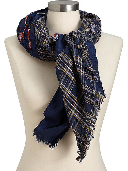 Old Navy Plaid and Sequin Scarf