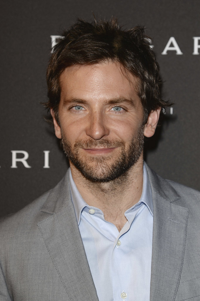 Bradley's eyes popped against a blue shirt at a Bulgari event in Paris in July 2013.