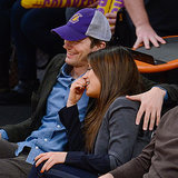 Ashton Kutcher and Mila Kunis Kiss at Lakers Game
