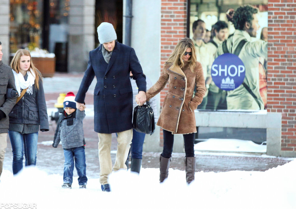 Gisele Bündchen, Tom Brady, and Benjamin walked hand in hand in Boston on Sunday.