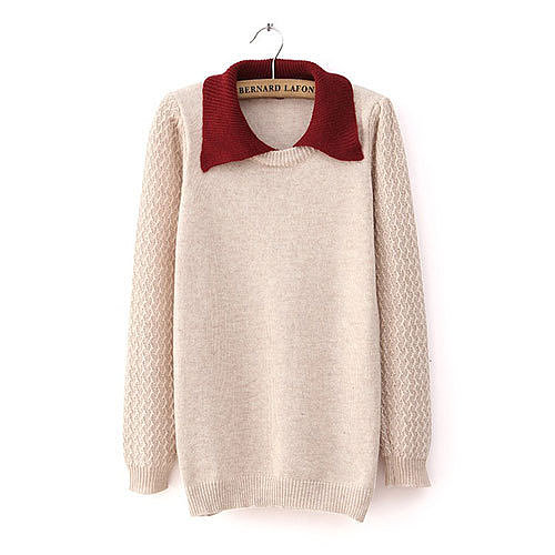 Image of [grxjy560783]Contrast Color Crewneck Polo Collar Knit Sweater Pullover Jumper