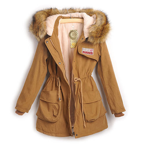 Image of [grxjy560784]Army Green Patches Hooded Drawstring Belt Padded Jacket Thick Long Coat