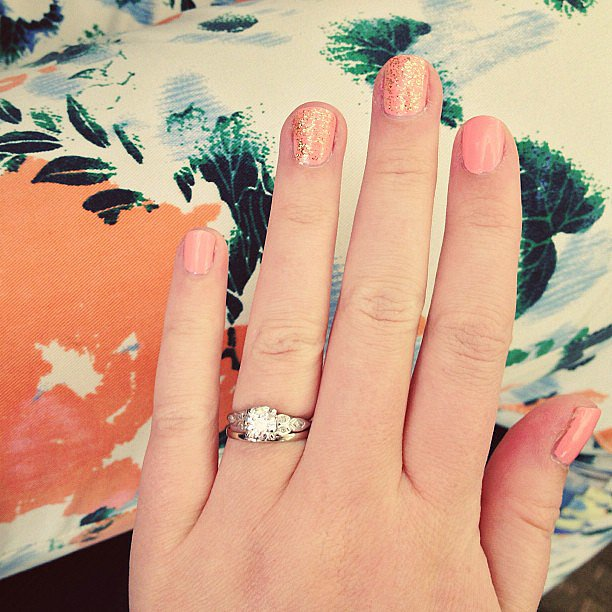Wearing floral pants and coral nails in the office.