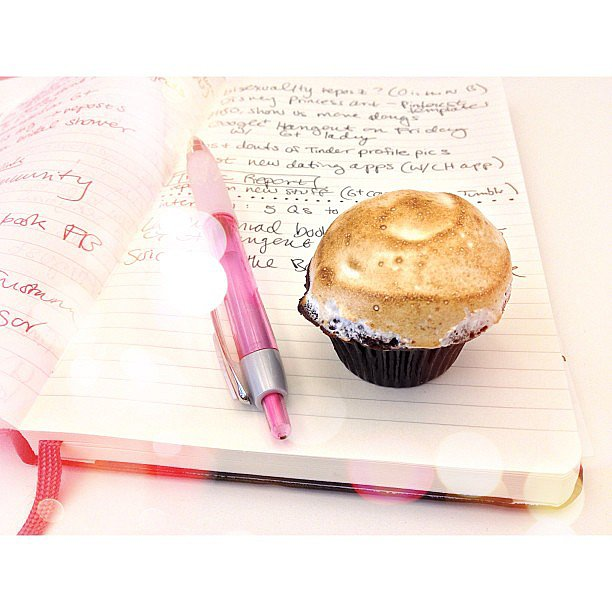 On the day's agenda: eat a mini s'mores cupcake from our sweet intern.