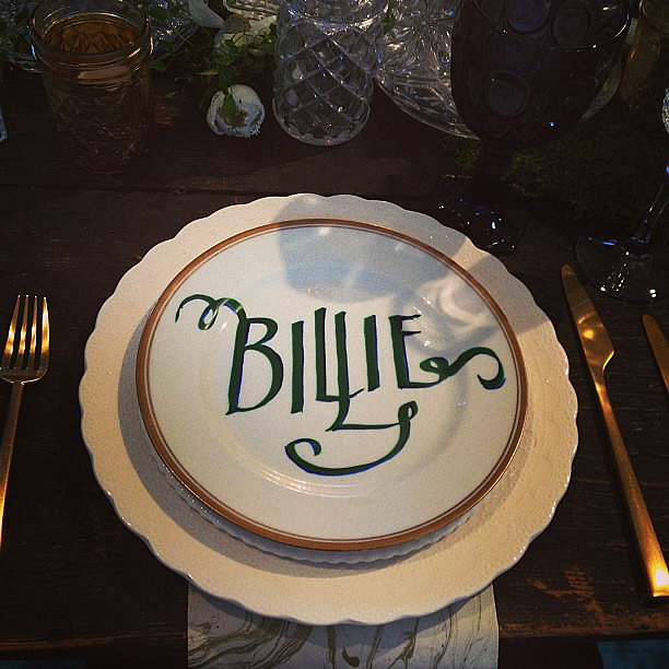 Table assignments written on the plates at The Cream.