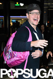 "Matt laughed as he showed off the pink ""Twinkle Toes"" bag."