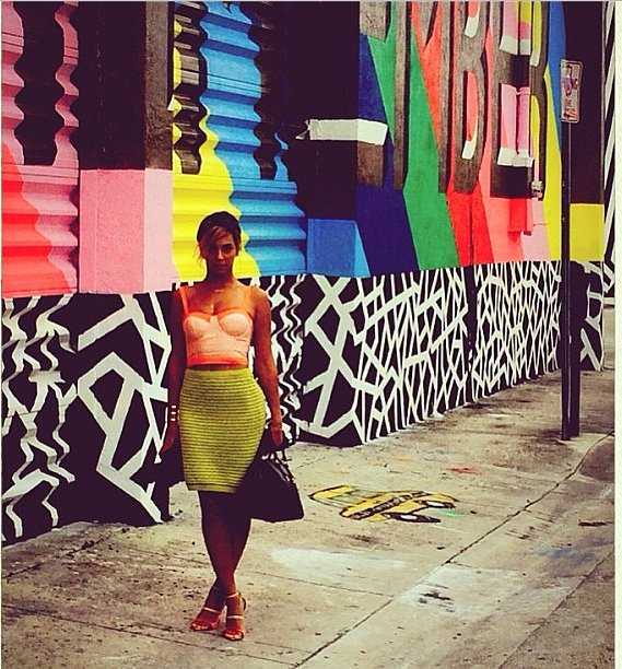 Beyoncé lit up the streets in this neon outfit. Source: Instagram user beyonce