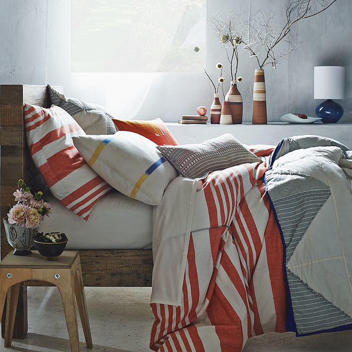 If you're obsessed with designer Steven Alan's fashion label, then consider cuddling up to his new collection for West Elm. We're particularly taken with this selection of Striped Bedding ($29-$169).