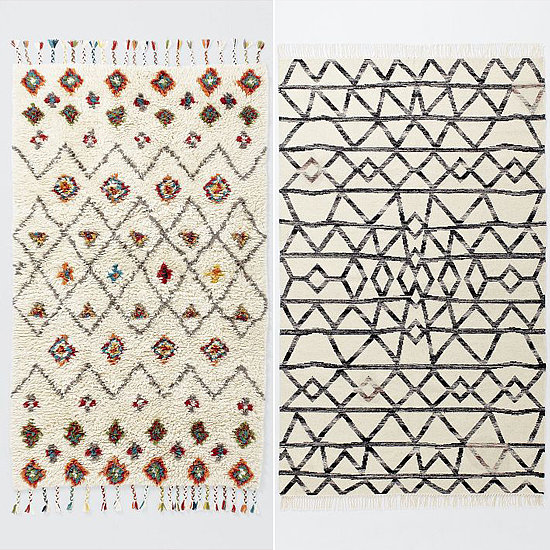 The Riad Wool ($179-$1,299) and Torres Wool Kilim ($69-$799) rugs add a fresh twist to the trendy Beni Ourain design.
