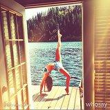 Nina Dobrev showed off her yoga skills in a bikini during a trip to a lake in Summer 2013. Source: WhoSay user ninadobrev