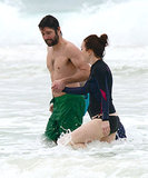 Julianne and Bart took a dip in the ocean in Mexico.