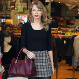 Taylor Swift in Plaid Skirt and Charlotte Olympia Flats