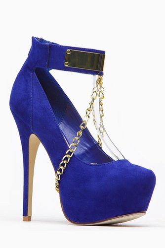 Styleuxe Plated Chain Linked Strap Pump @ Cicihot Heel Shoes online store sales:Stiletto Heel Shoes,High Heel Pumps,Womens High