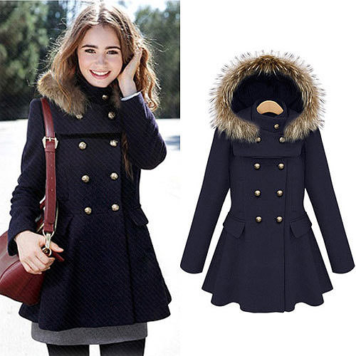 Image of [grxjy560799]Double Breast Stand Collar Detachable Hooded Coat Pleated Hem Dress