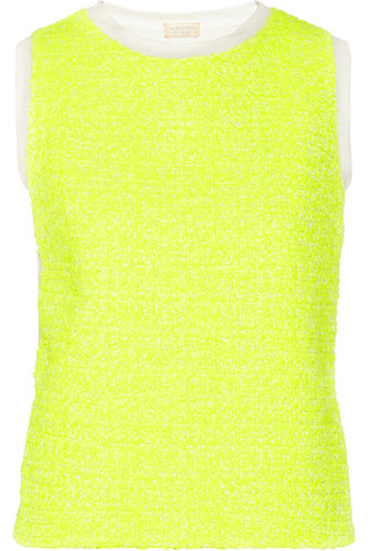Neon tweed-paneled jersey top