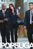 Courteney Cox waved to fans when she arrived for a taping of Jimmy Kimmel Live! in LA on Monday.