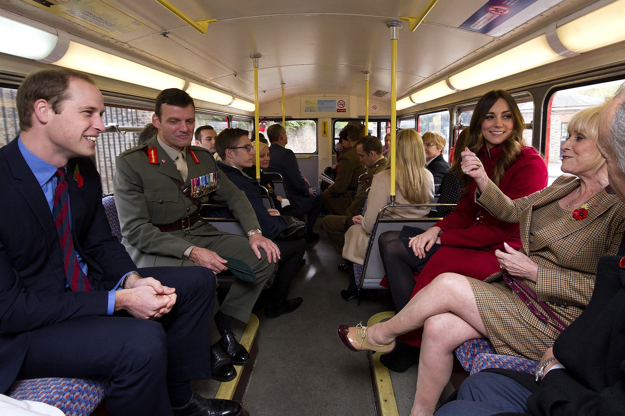 In November 2013, Kate rode the bus with William for Poppy Day in London.