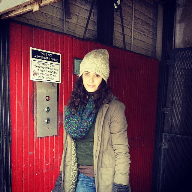Emmy Rossum layered up on the set of Shameless. Source: Instagram user emmyrossum