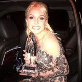 Britney Spears flashed a sweet smile while thanking fans for the favorite pop artist award. Source: Instagram user britneyspears