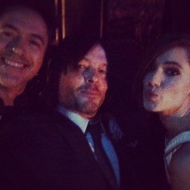 Norman Reedus snapped a selfie with fellow presenter Allison Williams and Robert Downey Jr. Source: Instagram user bigbaldhead