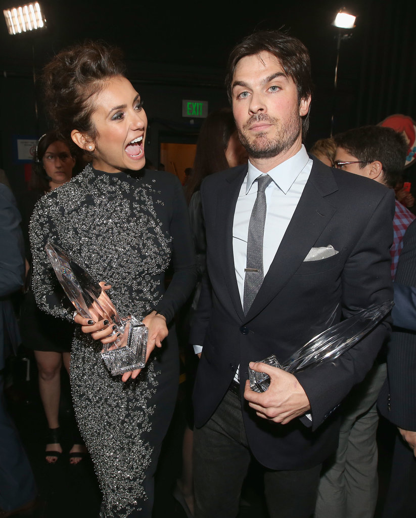 Nina Dobrev and Ian Somerhalder celebrated their win for favorite onscreen chemistry backstage.