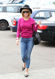 Reese Witherspoon was pretty in pink when she stopped by a hair salon in Beverly Hills on Tuesday.