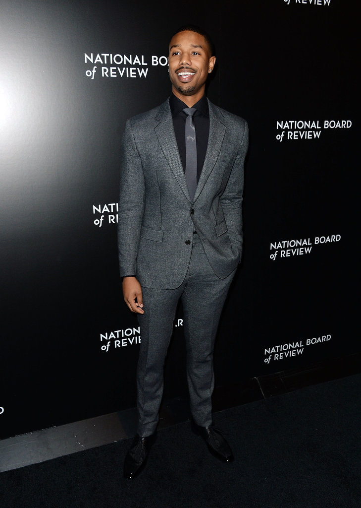 Michael B. Jordan grinned in gray.