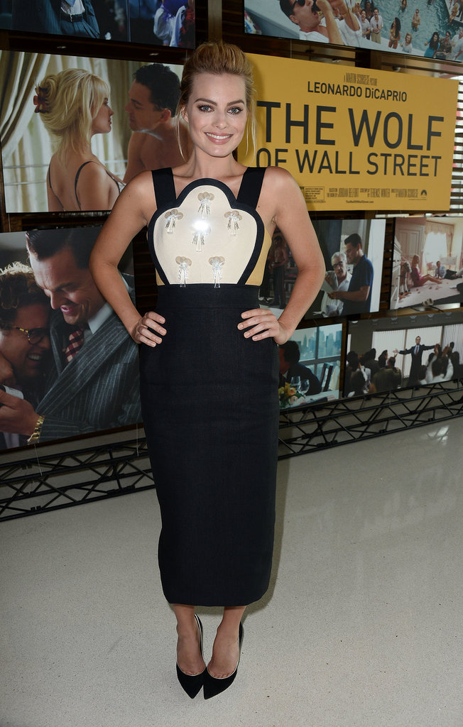 Earlier in the day, she attended a special screening of The Wolf of Wall Street.