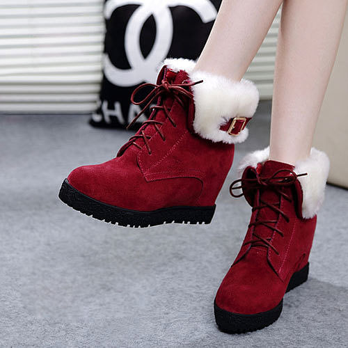 Image of [grzxy61900205]Lace Up Hidden Wedge Boots Thick Sole Shoes Casual Ankles