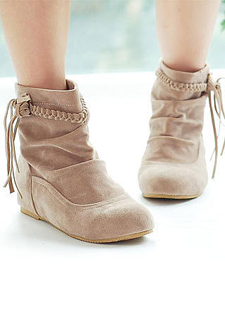 Image of  [grzxy61900092]Retro Romans Style Braid Fringed Leisure Bootie
