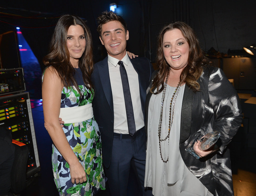 Sandra Bullock and Melissa McCarthy shared a moment with Zac Efron.