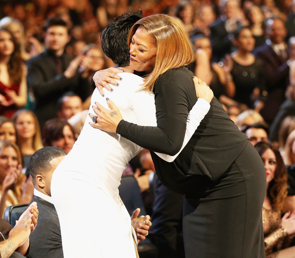 Jennifer Hudson hugged Queen Latifah.