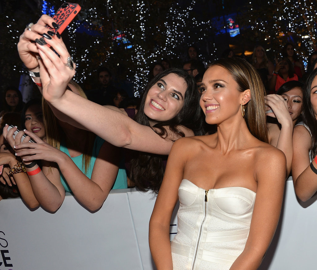 Jessica Alba was one of the many stars taking fan selfies throughout the night.