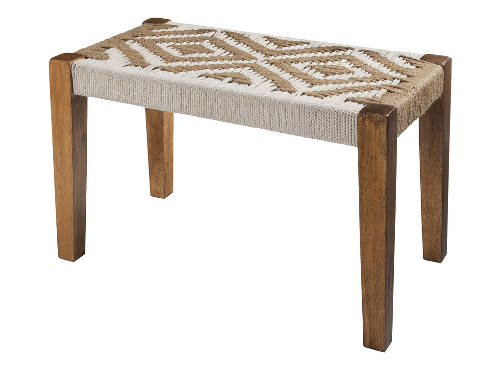 We love the beach-inspired feel of this woven bench ($110).
