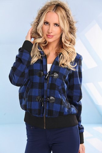 BLUE BLACK PLAID FAUX FUR HOODED JACKET