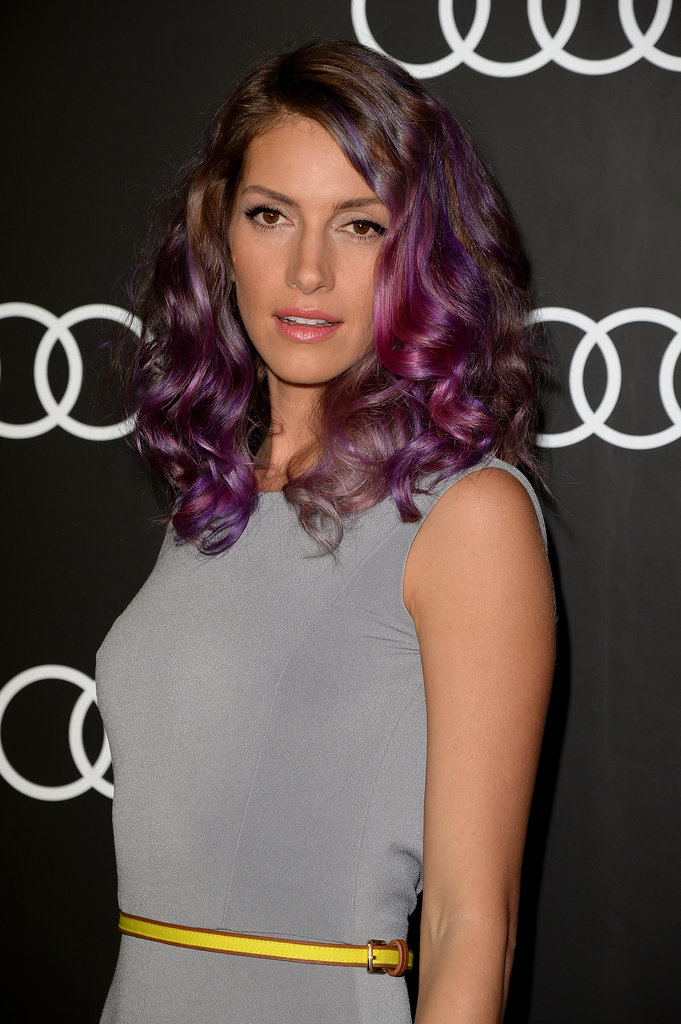 House of Lies star Dawn Olivieri showed off her purple hair.