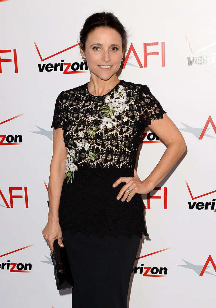 Julia Louis-Dreyfus wore her hair back.