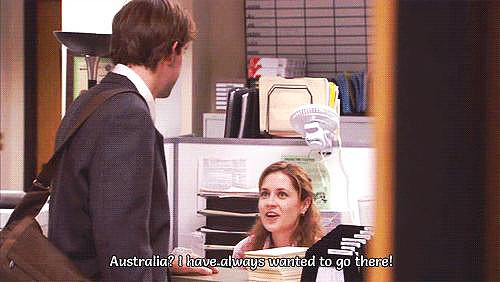 Devastated that Pam's about to marry Roy, Jim books a trip to Australia so that he'll miss her wedding.