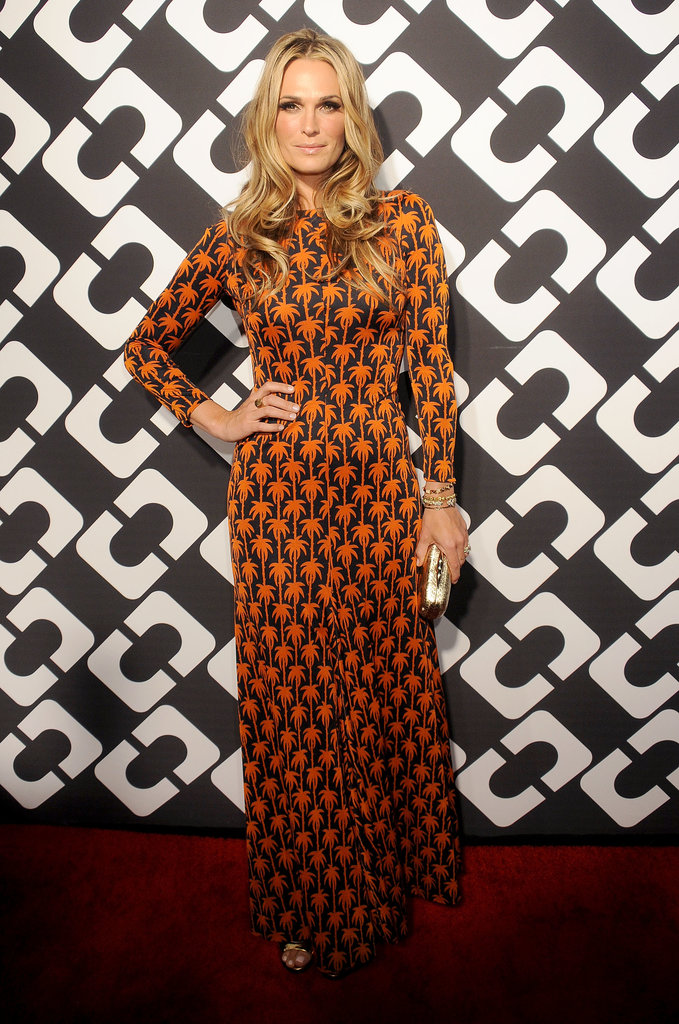 Molly Sims wore a patterned number.