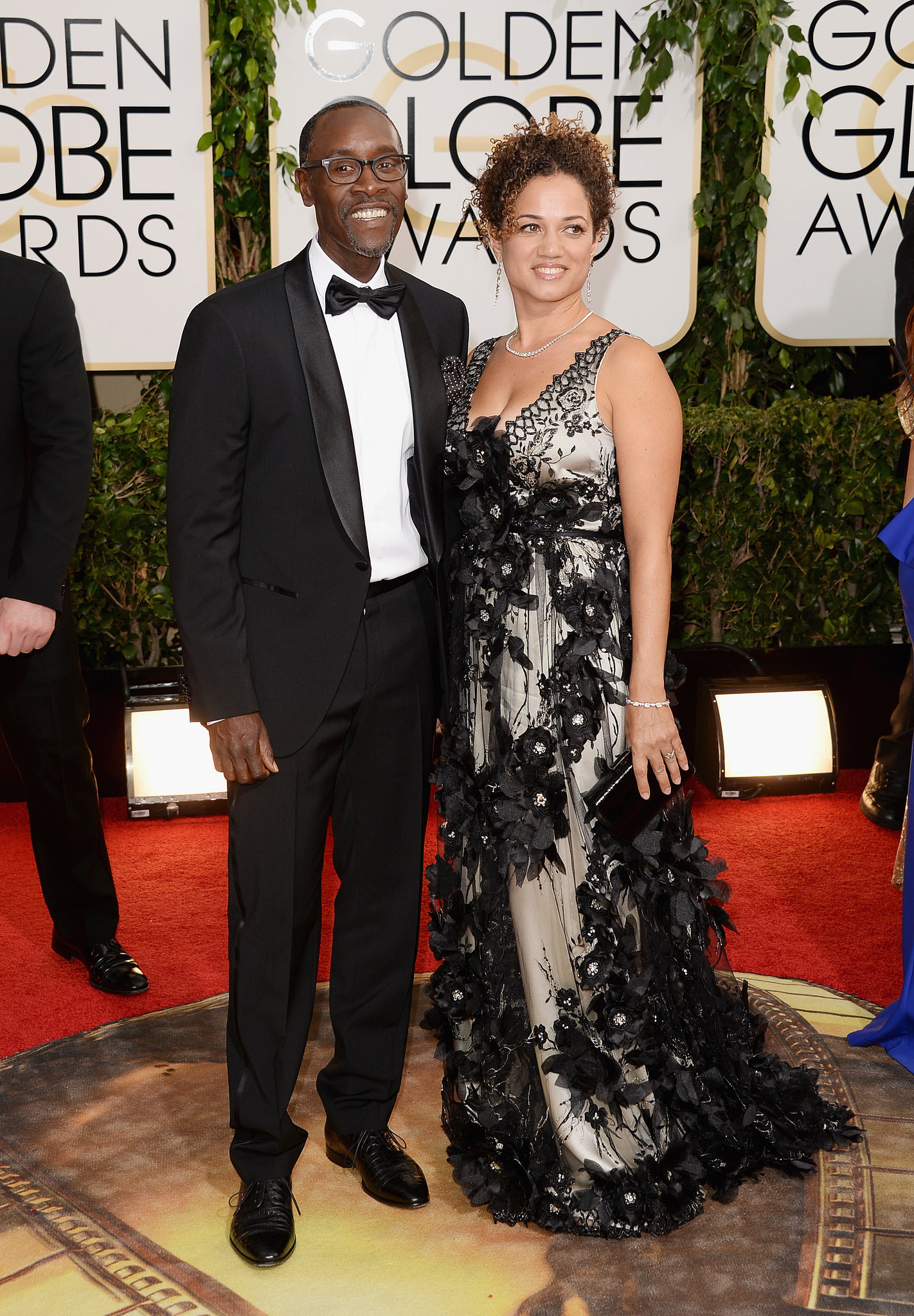 Don Cheadle and Bridgid Coulture arrived at the Golden Globe Awards.