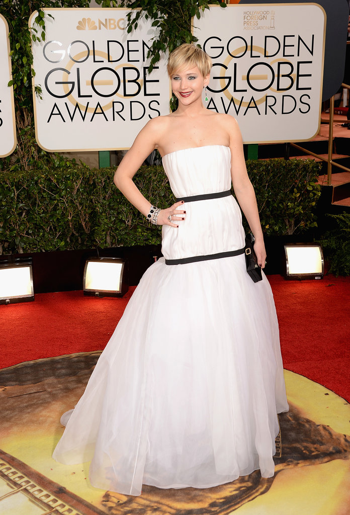 Jennifer Lawrence made a stunning arrival in a white Dior gown.