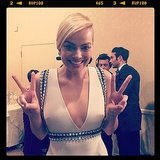 Margot Robbie threw up a double peace sign at the show. Source: Instagram user goldenglobes