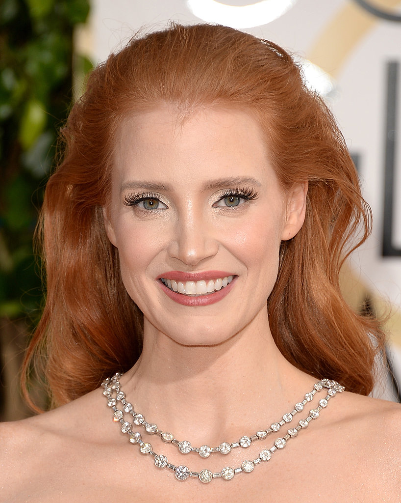 Jessica Chastain showed off a brilliant diamond necklace.